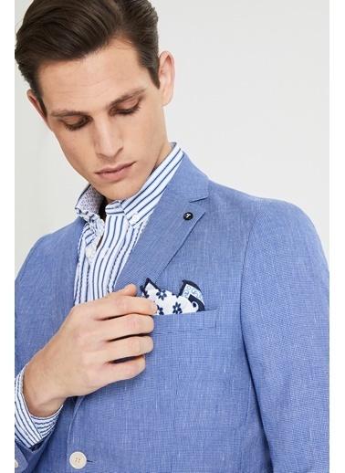 Tween Slim Fit Desenli Kumaş Ceket Mavi